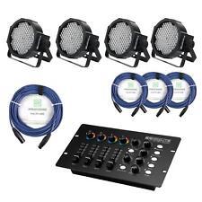 PA LICHT ANLAGE 4x LED SCHEINWERFER DMX CONTROLLER KABEL LICHTEFFEKT KOMPLETTSET
