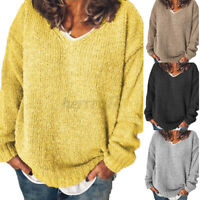 UK Womens Long Sleeve Knitted Sweater V Neck Casual Loose Tops Jumper Pullover