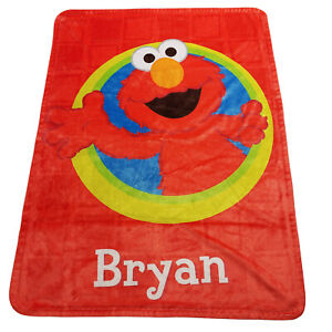 Custom Red Elmo Bryan Name Spellout Throw Blanket Size 37.5 L X 28.5 W Personal