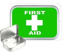 First Aid Silver Hinged Tobacco Tin,150ml Tobacco Tin,Gift Box, Storage Tin
