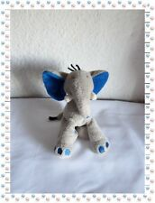 H - Doudou Peluche Eléphant Gris et Bleu Nicotoy The Baby Collection
