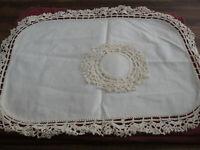"Lot 2 Vintage 7"" & 17"" x 23"" Fabric Center Crochet Edging Doily Off White Cream"