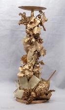 Elegant Large Holiday Sparking Golden Metal Pedestal Candle Holder Decor Fall