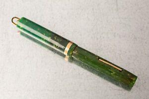SHEAFFER 5-30 Jade Green Ring Top FOUNTAIN PEN, 14K gold nib, Restored