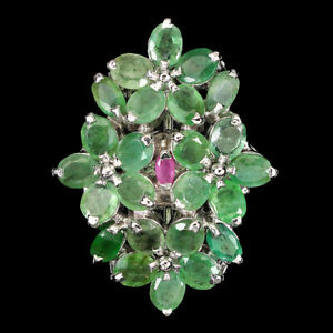 Unheated Oval Emerald 5x3mm Ruby 14K White Gold Plate 925 Sterling Silver Ring 9