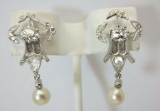Vintage Antique 14K White Gold and Diamond Earrings 0.94 CT OEC Rose Cut
