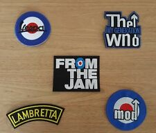 WHOLESALE SET OF FIVE SEW ON / IRON ON PATCHES:- MOD SCOOTER JAM WHO SELECTION B