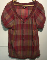 Dress Barn Womens Scoopneck Cap Sleeve Blouse Top Red Plaid Size Large