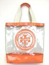 Tory Burch Clear Plastic Tote Bag Orange Trim Monogram
