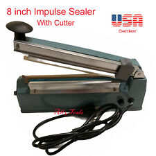 """8"""" 200mm Impulse Seal Machine Wrap with Cutter, Heat Poly Bag Hand Sealer"""