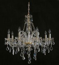 "Brand New PENDANT CHANDELIER WITH REAL CRYSTALS Gold Frame D28"" x H28"" 8 Light"