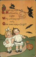 Halloween Mary LaFetra Russell Man in Moon Cute Kids Series 124 Postcard