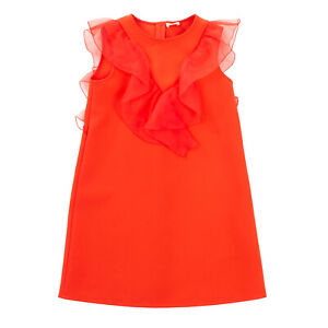 RRP €220 ELISABETTA FRANCHI Crepe Shift Dress Size M / 10Y Organza Ruffle Trim