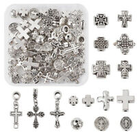70pc/box Tibetan Style Antique Silver Alloy Cross Spacer Bead For Jewelry Making