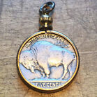 Vintage Buffalo Nickel coin Pendant. nos Brass setting. Double sided Chief charm