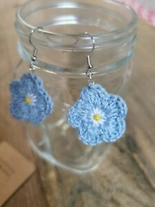 Forget me not, Earrings, Handcrafted Crochet Cotton silver Plated EARRINGS