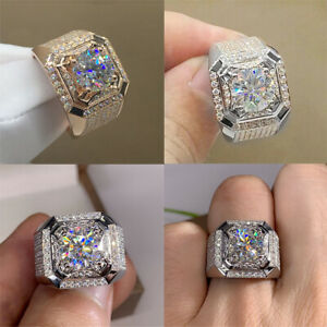 Gorgeous 925 Silver White Sapphire Engagement Ring for Women Mens Wedding Party