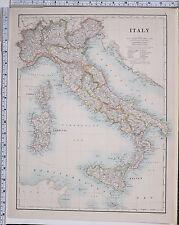 1889 LARGE ANTIQUE MAP ~ ITALY SARDINIA TUSCANY SICILY ROME FLORENCE