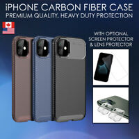 Carbon Fiber Case For iPhone 11, Pro, Max, SE, XR TPU Cover Shockproof Fibre