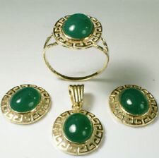 14k Solid Yellow Gold Matching Green Onyx Earrings, Pendant & Ring 7.70gr #S174