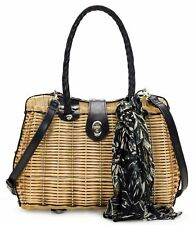 Patricia Nash Lucena Brown Satchel Woven With Scarf Handbag