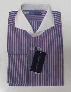 Ralph Lauren Purple Label Italy Mens Keaton Collar White French Cuff Dress Shirt