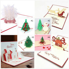 3D Pop Up Christmas Cards Holiday Greeting Card Postcard Xmas Happy New Year