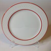 """Homer Laughlin Gothic Restaurant Dinner Plates 10.5"""" Red Rim Ivory New Set Of 4"""