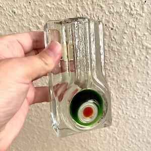 🎁 Vintage 1970er Psychedelische Ein-Blumen-Vase WALTHER Glas 11,5cm Massiv ALT