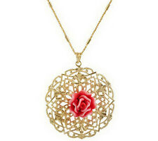 Arte d' Argento 18K Gold Plated Sterling Silver Rose Pendant Chain 13g QVC $99