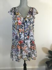 $120 ADELYN RAE Size S Small Lydia Woven Printed Frill Short Floral Shift Dress