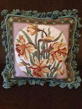 "Beautiful 15"" Floral Needlepoint Pillow"