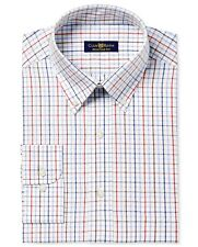 Nwt $93 Club Room Men Regular-Fit White Blue Check Button Dress Shirt 16.5 34/35