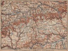 SCHWÄBISCHE ALB. Swabian Jura topo-map. Ulm Rottenburg Gmünd Kirchheim 1902