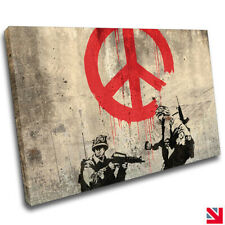 BANKSY SOLDIERS PEACE CANVAS Wall Art Picture Print A4
