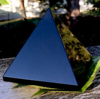 436.7g GIANT Polished Black Obsidian Crystal Healing Pyramid  ITALY  Reiki