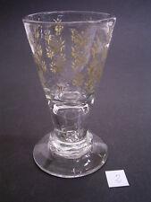 LAUENSTEINER KELCHGLAS/GLAS vor 1800: LUFTBLASE im STIEL: BLUMENDEKOR GEÄTZT (2)
