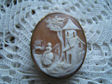 Victorian Shell Cameo Mourning Hair Memento Piece