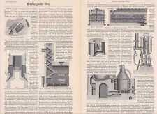 Metallurgie Hüttenwesen Stiche + Text um 1900 Schmelzofen Röstofen Herbertzofen
