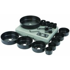 18 Piece Carbon Steel Hole Saw Set cut precise holes in Wood, Plastic, PVC, ABS