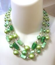 Vintage Green Glass Bead, Moonglow Necklace, Earrings Japan