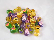 12, Hippie Happy Face Mix Round Oval Glass Beads 15mm x 12mm New