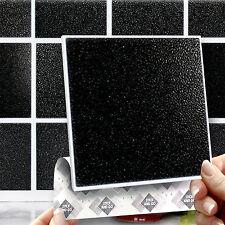 """8 Stick & Go 6"""" Nero Muro Piastrelle o adesivi per cucine o bagni"""