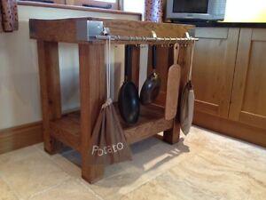 Reclaimed rustic English oak butchers block kitchen island work station table