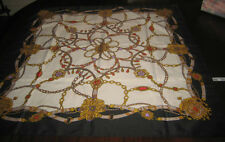 Liz Sinclair Scarf Vintage Made in Japan 29.5X30.5 Navy Red Tan Gold