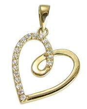 SOLID 14K YELLOW GOLD SPARKLY CLEAR CZ FANCY SHINY HEART PENDANT 14.5MM