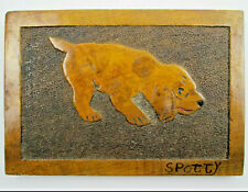 Vintage Pyrography Wood Burning Art of a Dog named Spotty From Daddy March 1947