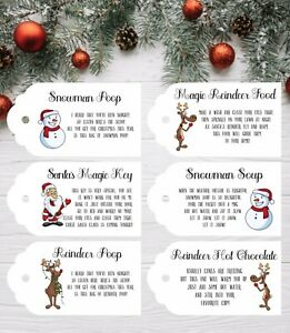 Santas Key Magic Reindeer Food Christmas Labels Tags Snowman Soup Reindeer Choc