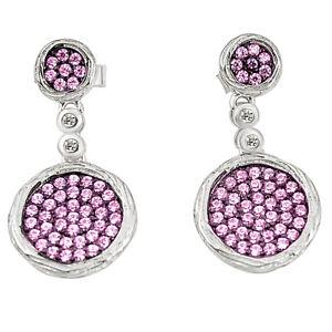 Pink Topaz Quartz Topaz 925 Sterling Silver Dangle Earrings A78097 C24752