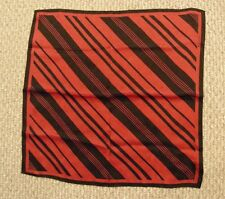 "Silk Scarf - Echo - Square - red & black diagonal stripe - 22 1/2"" square"